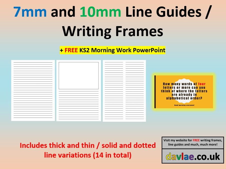 7mm and 10mm Line Guides / Writing Frames (+ FREE KS2 MORNING WORK POWERPOINT)