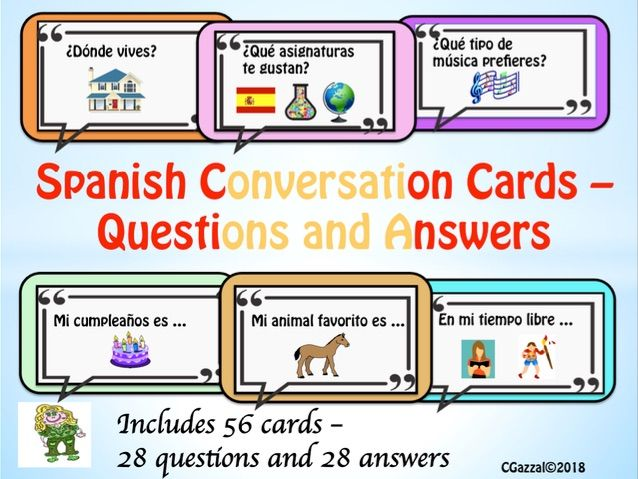 Spanish – Conversation Cards – Questions and Answers.