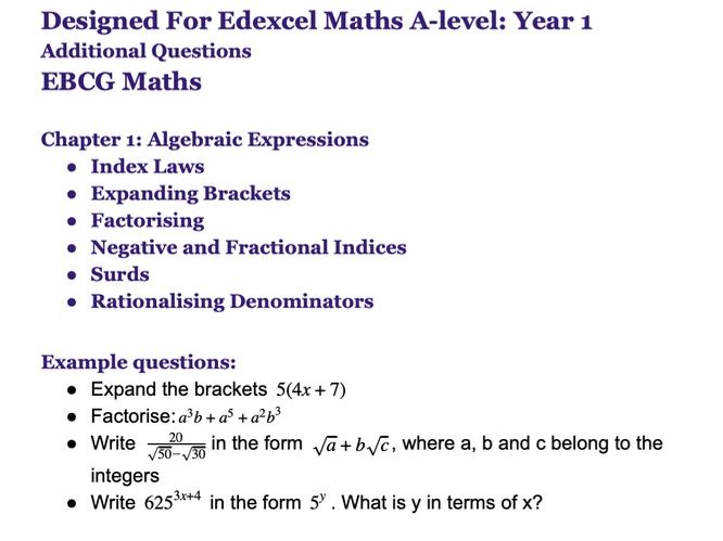 For Edexcel Maths Year 1: Chapter 1: Algebraic Expressions. Additional questions.