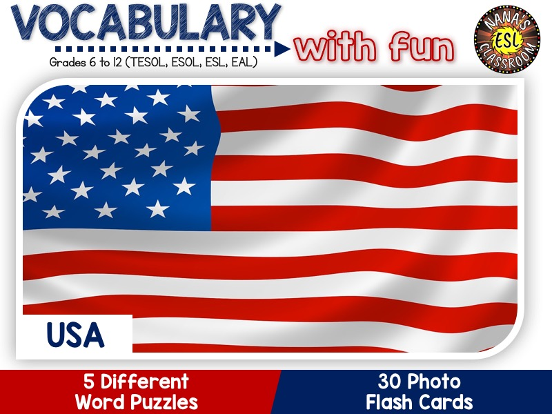 USA - Country Symbols: 5 Different Word puzzles and 30 Photo flash cards (ESL, ELA, ELL, TESOL)