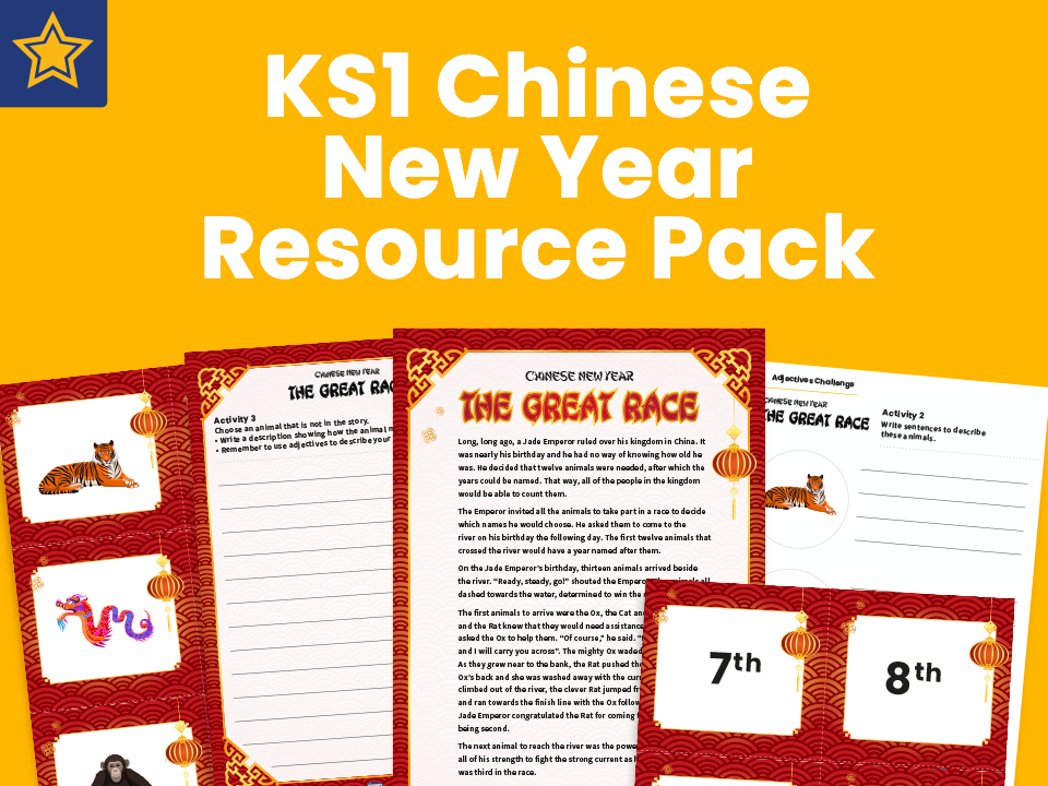 KS1 Chinese New Year: sequencing, adjectives and story retelling worksheets pack