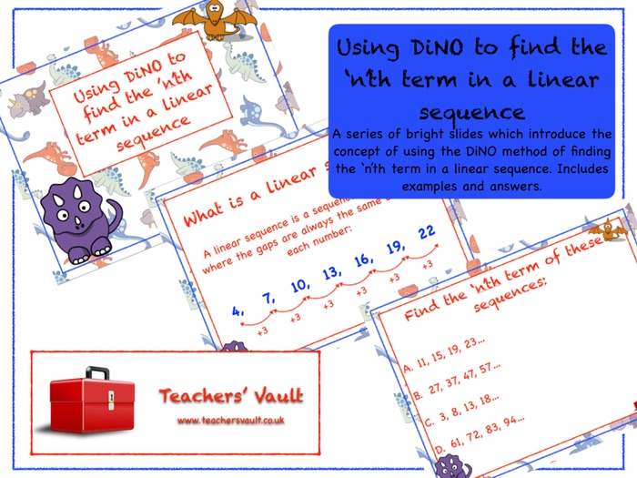 Using DiNO to find the 'n'th term in a linear sequence Lesson
