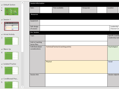 Sports Coaching Session Plan Template (interactive PP)