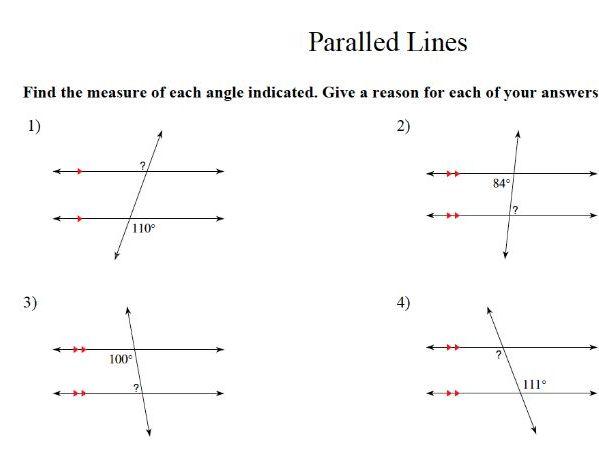 parallel lines – GCSE maths worksheet