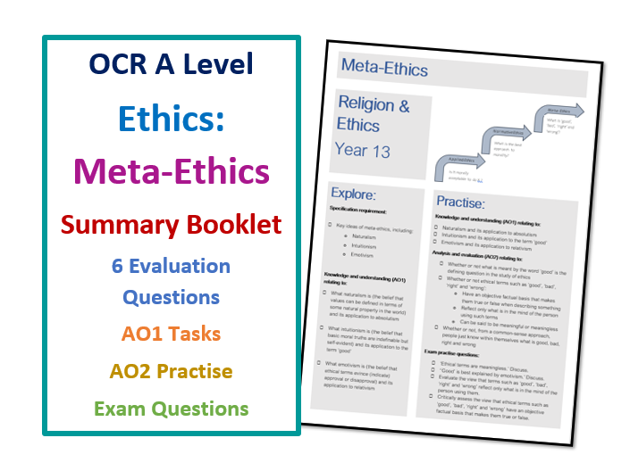 A Level Meta-Ethics: Lesson Summary Booklet with Exam Practise