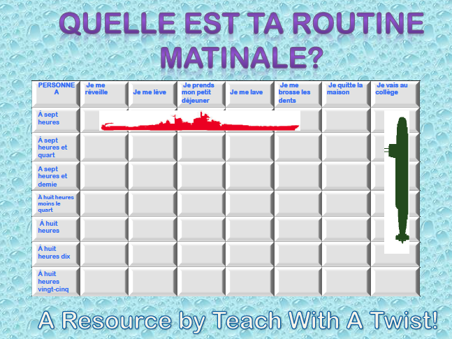 5 Differentiated French Battleship Games (5 topics with 3 games each)