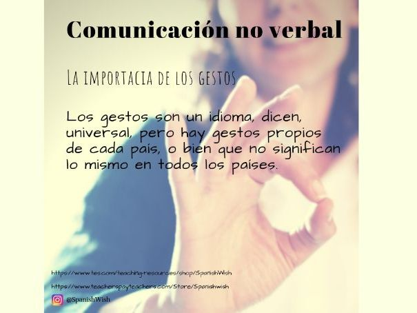 Comunicación no verbal en español. Non-verbal communication in Spanish