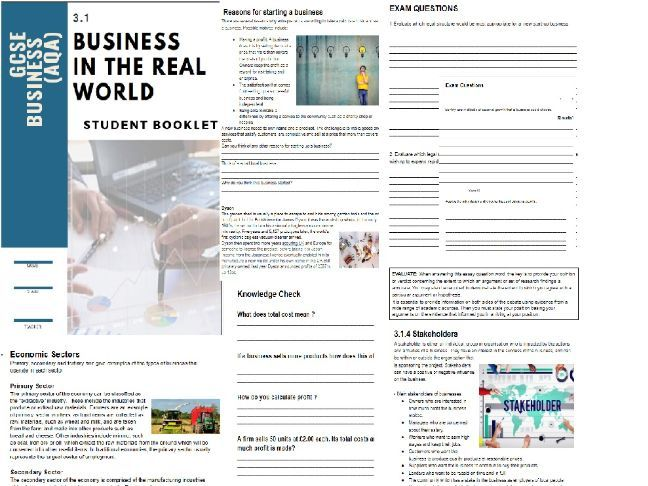 3.1 Business in the Real World  GCSE Business Studies AQA  Student booklet