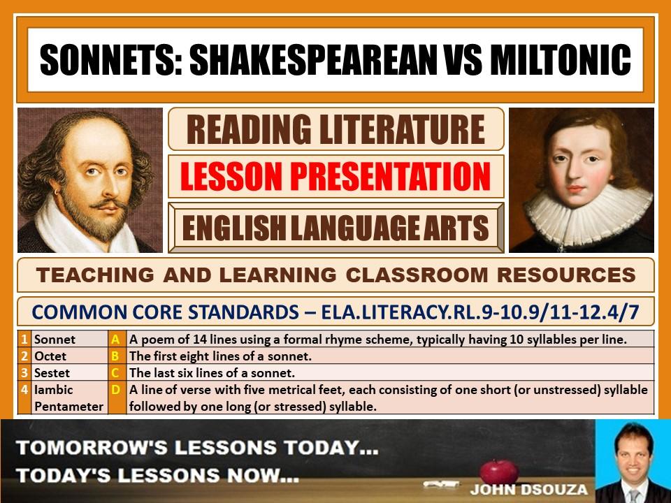 SONNETS : SHAKESPEAREAN VS MILTONIC - LESSON PRESENTATION