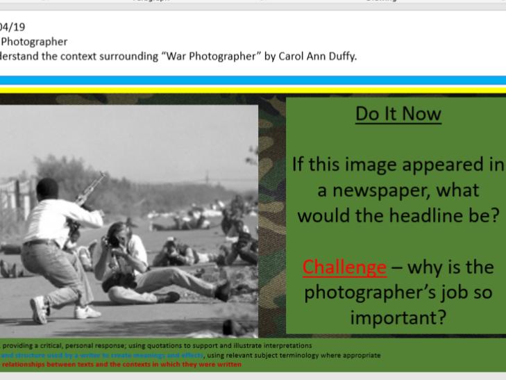 Poetry Context Bundle - Remains, War Photographer, Ozymandias