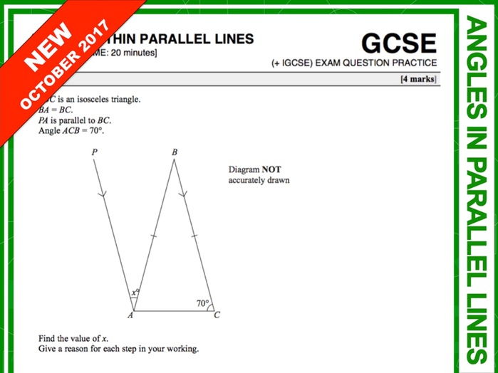 GCSE 9-1 Exam Question Practice (Angles within Parallel Lines)