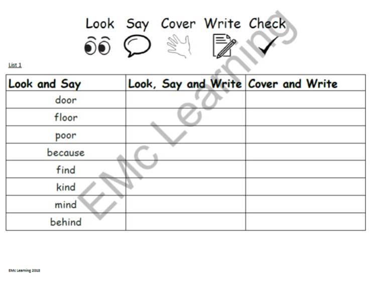 Year 2 Common Exception Words Spelling Lists Look Say Cover Write Check