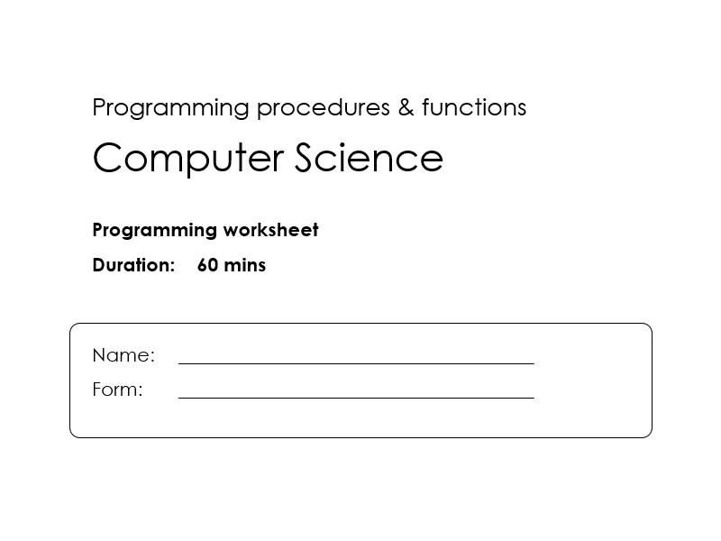 Procedures & Functions information and worksheet
