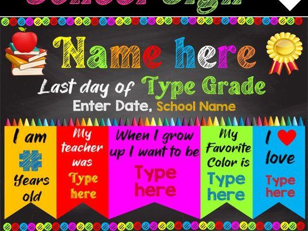 LAST DAY of School Sign - Chalkboard Edition | EDITABLE PPT
