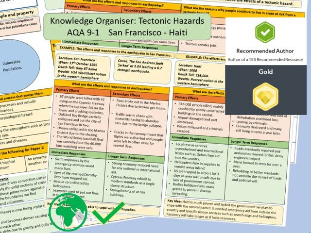 GCSE AQA 9-1 Tectonic Hazards Knowledge Organiser and Revision Summaries , San Francisco and Haiti.