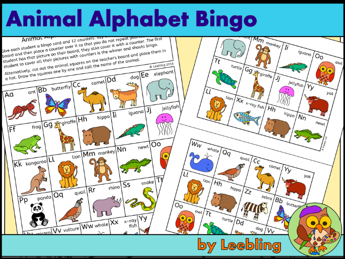 Animal Alphabet Bingo