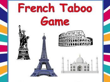 French Taboo Game, Pays et Villes - Jeu de Tabou en Français