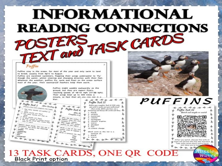 Reading Non-Fiction Informational Text and Task Cards BIRDS PUFFINS