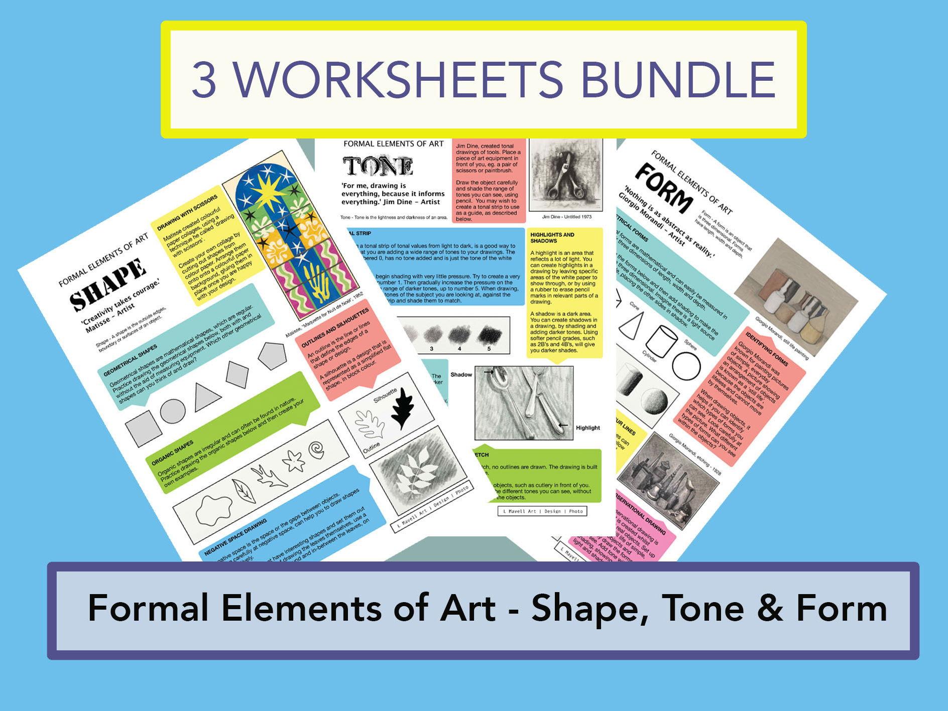 Formal Elements of Art Bundle - Shape, Tone and Form