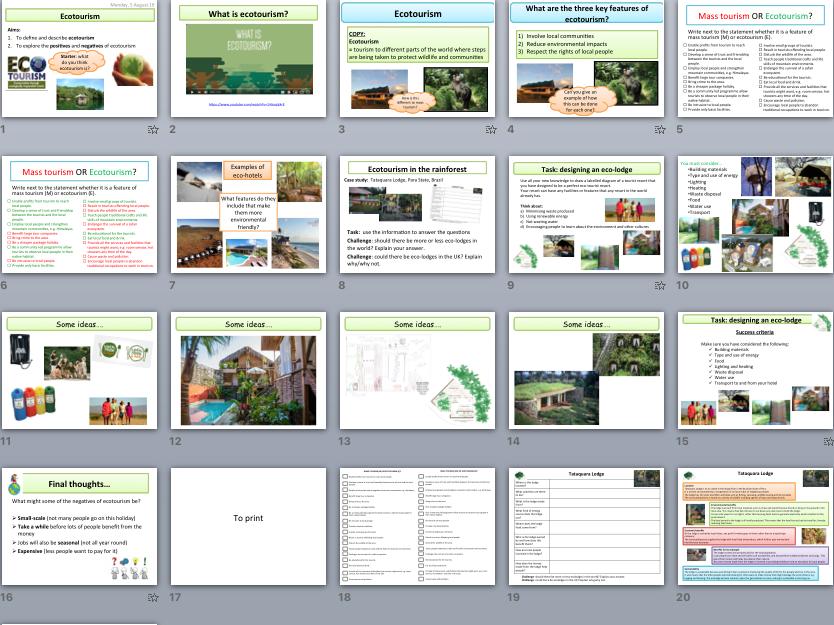 Ecotourism : positives, negatives & design your own ecolodge task - WHOLE LESSON (KS3/KS4 suitable)