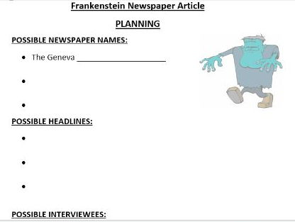 Frankenstein Newspaper Article Writing Activity