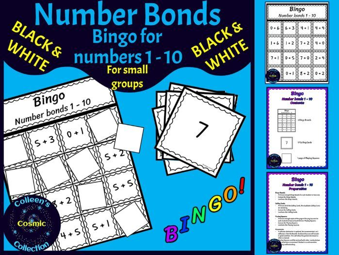 Number Bonds Bingo for numbers 1-10 for SMALL GROUPS in BLACK & WHITE