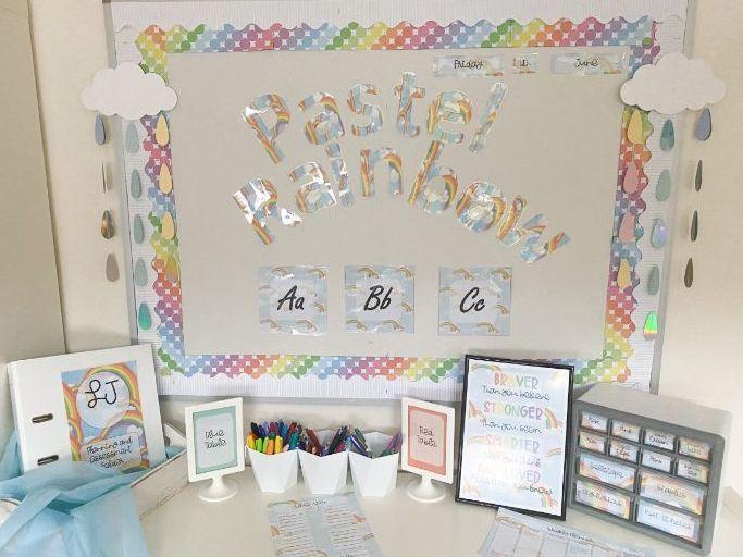 Classroom Display Set: Pastel Rainbow
