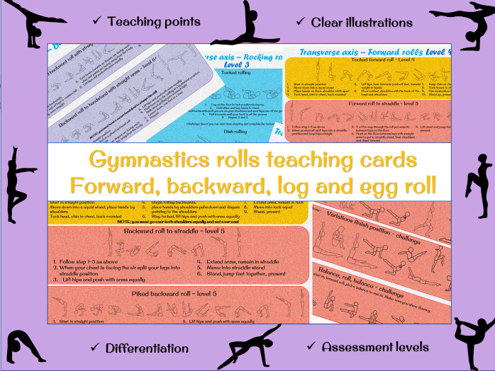Gymnastics rolls - forward roll, backward roll , log and egg roll differentiated teaching cards