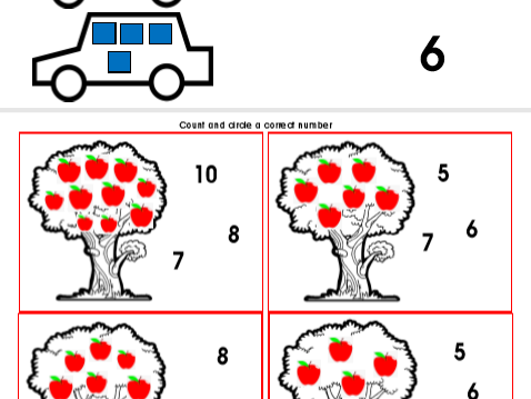 Maths counting, recognising and matching numbers game cards and worksheet