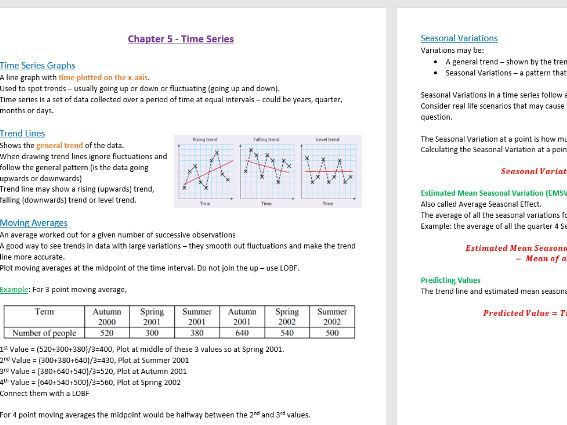 Time Series Revision Notes - GCSE Statistics (9-1)