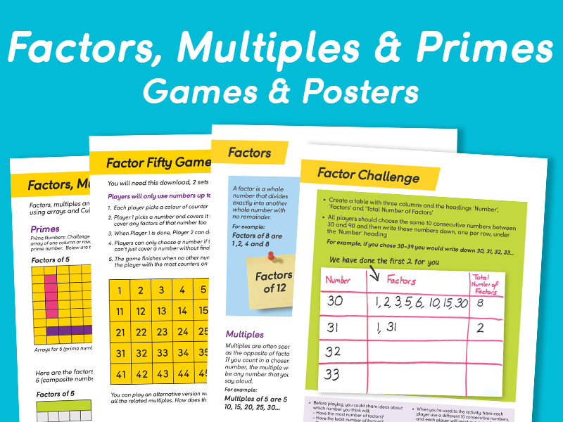 Factors, Multiples & Primes Games/Posters