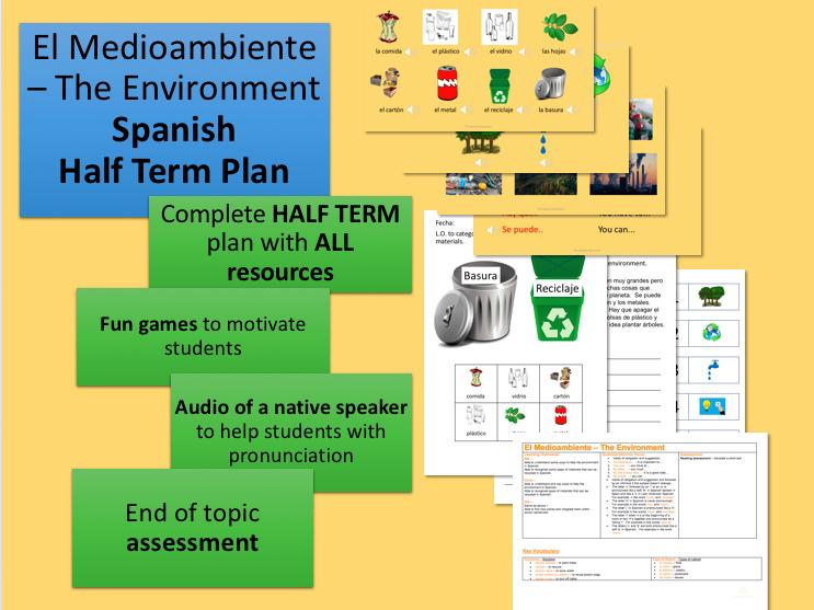 El Medioambiente The Environment Spanish Half Term Plan and Resources