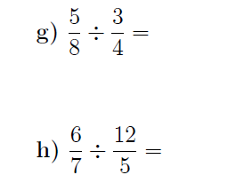 Dividing fractions worksheet no 3 (with solutions)