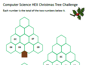 Computer Science Christmas Worksheet - Number Puzzles in Binary & Hexadecimal