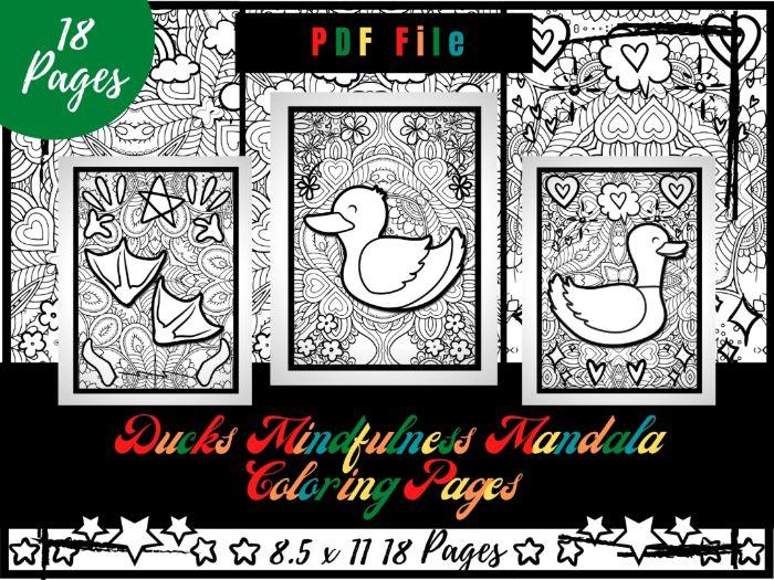 Ducks Mindfulness Mandala Colouring Pages, Printable Birds Colouring Sheets PDF