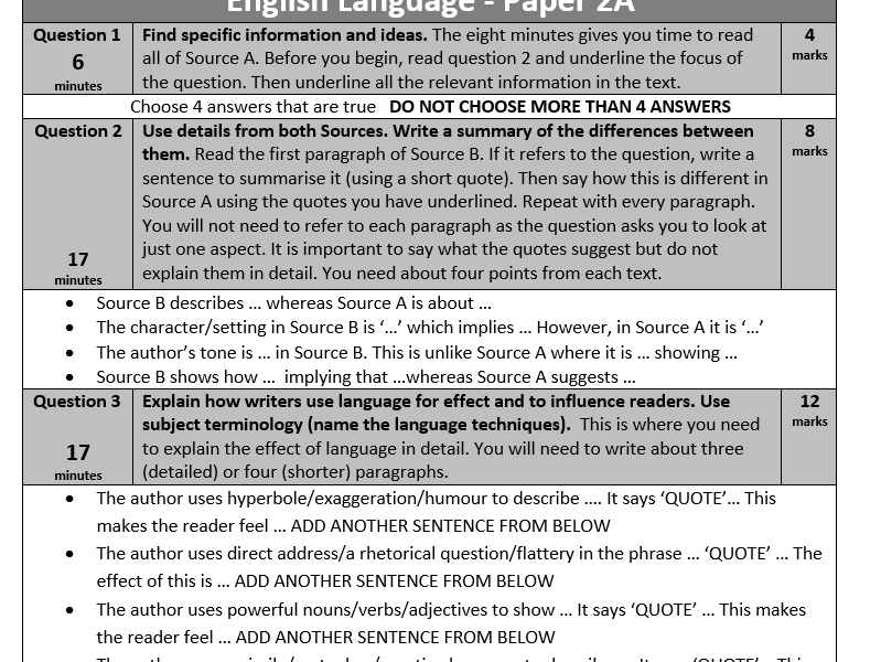 Paper 2 AQA English Language  GCSE - Revision tips and sentence starters.