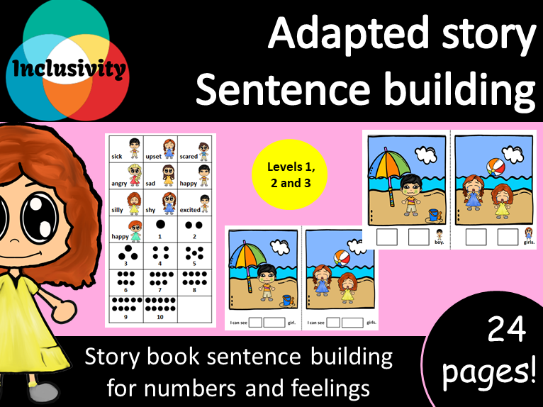 Adapted storybook sentence building counting numbers and feelings; Levels 1, 2 and 3