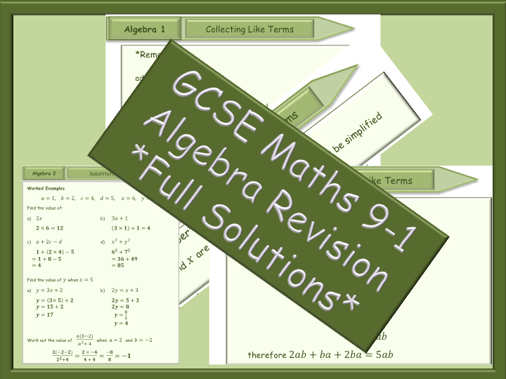 GCSE Algebra revision 9-1-Collecting like terms-Substitution - Full Solutions