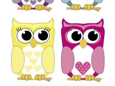 Cute Owl Clipart x6 Owls Birds