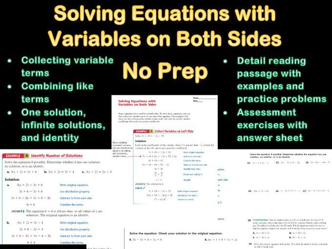 Solving Equations with Variables on Both Sides Lesson No Prep With Answer Sheet