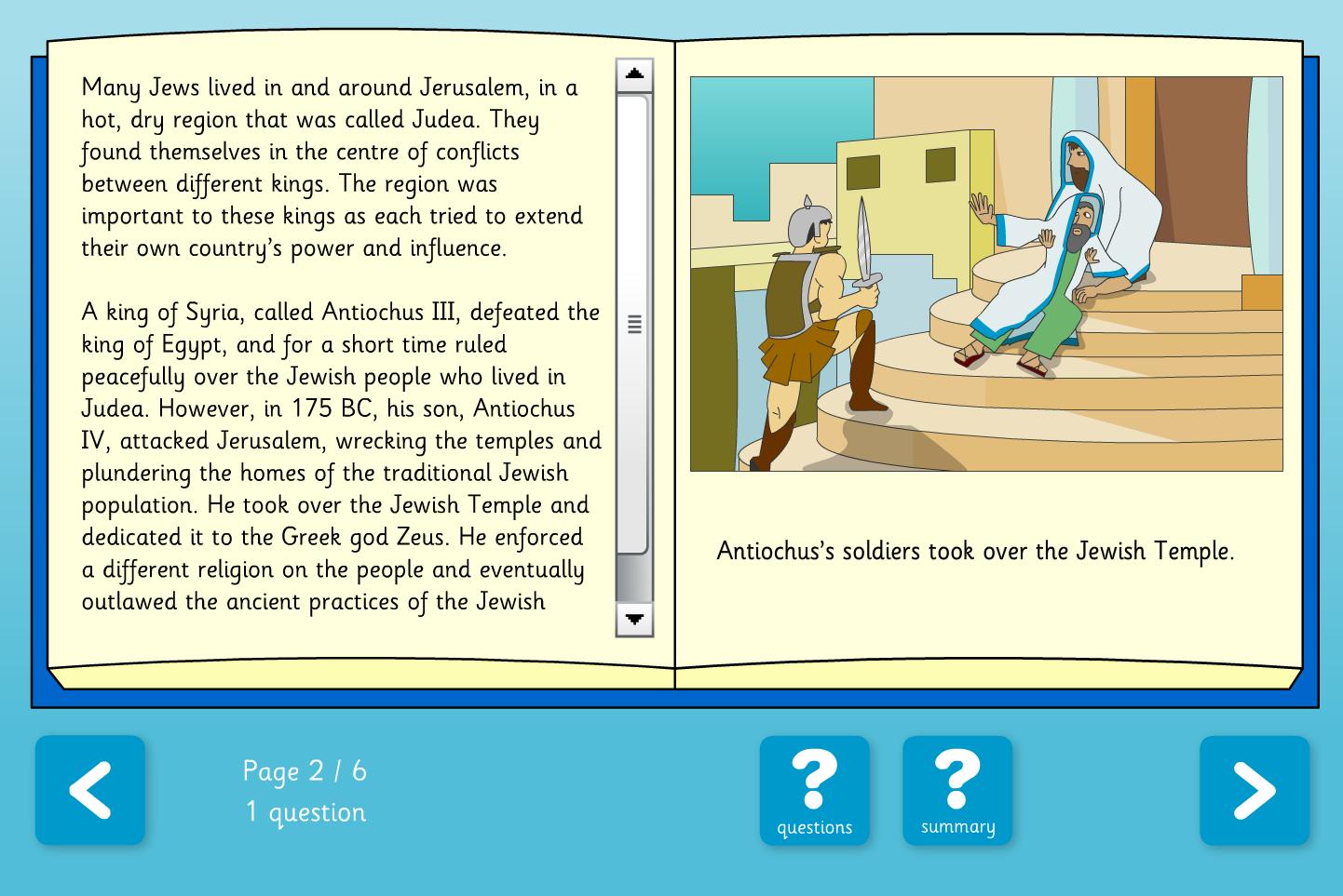 Hanukkah Interactive Comprehension Book - Reading Level B - Hanukkah KS2