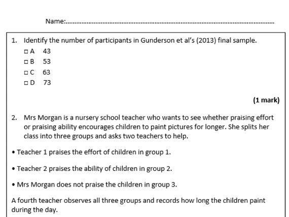 GCSE Psychology Topic 1 Development - Assessment lesson & mark scheme