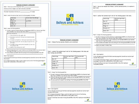 Exercise intensity worksheets: BTEC Sport Level 2 Unit 1 (2018)