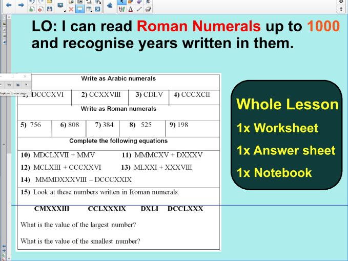 Whole Lesson - Roman Numerals up to 1000 - Ideal for a second  lesson - KS2