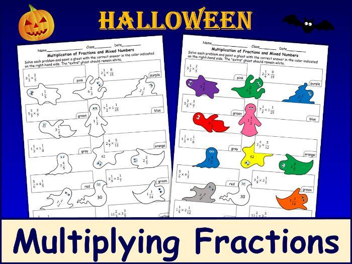 Halloween Multiplying Fractions