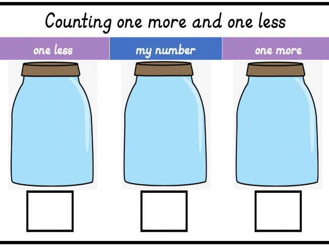 Counting ONE MORE & ONE LESS jars activity mat KS1