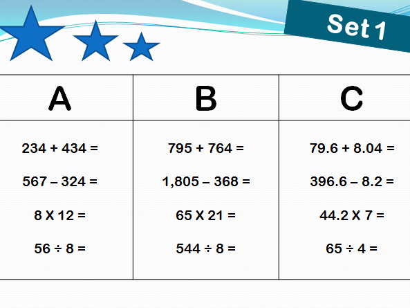 40 sets of arithmetic starters/morning work  for year 5 and 6 with answers