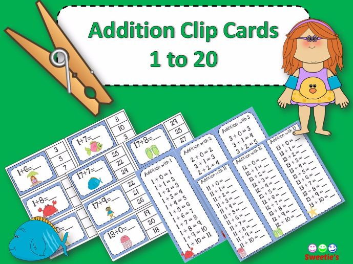 Addition Facts 1 to 20 Clip Cards - Ocean Friends