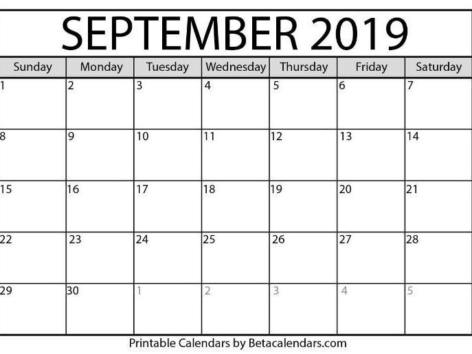 Blank September 2021 Calendar Printable