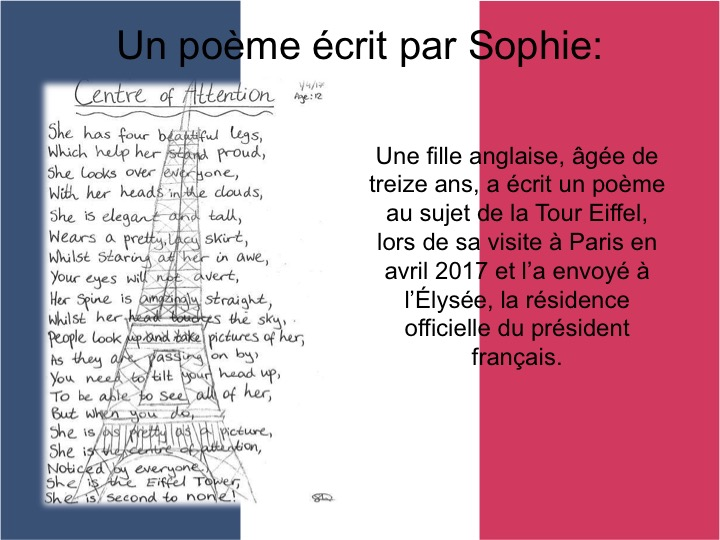 French GCSE / A Level Teaching Pack: President Macron's Poem for English Teenager Sophie
